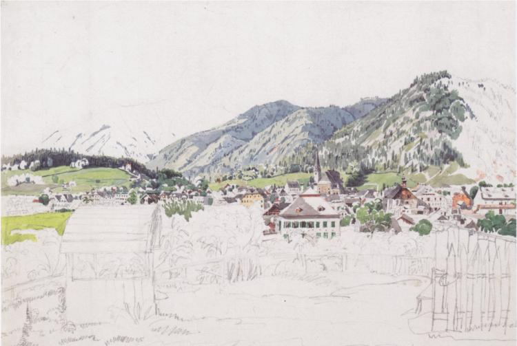 Partly-Completed Painting of a Mountain Town