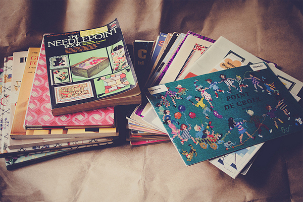 Two Piles of Vintage Craft Books