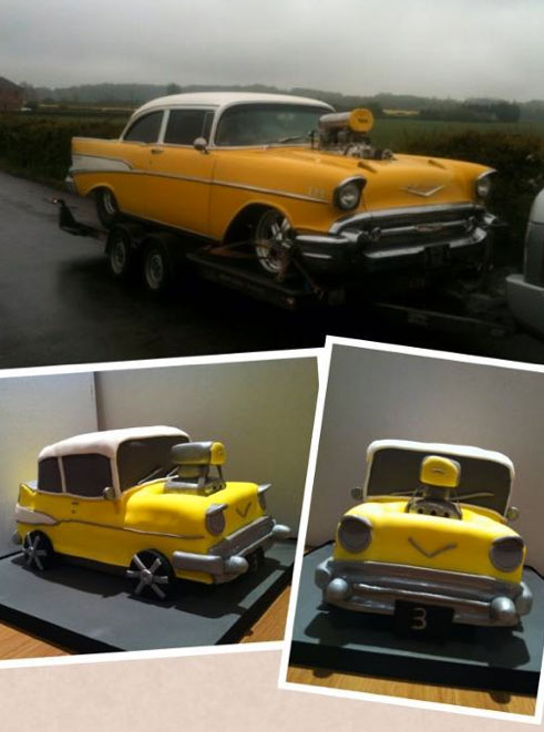 Yellow Chevy Car and Corresponding Car Cake