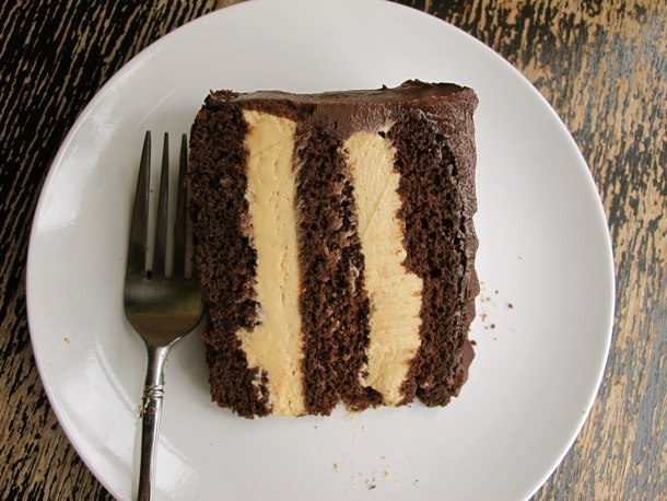 Slice of Chocolate and Peanut Butter Cake on Plate