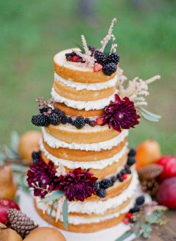 Naked Layered Cake with Berries and Flowers