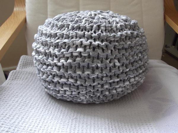 """Grey Yarn """"Pouf"""" on Chair"""