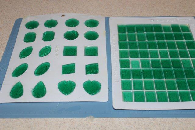 Green Liquid Sugar in Plastic Trays