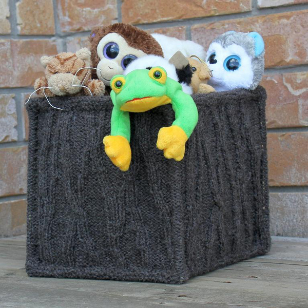 Knit Basket Filled with Stuffed Animals