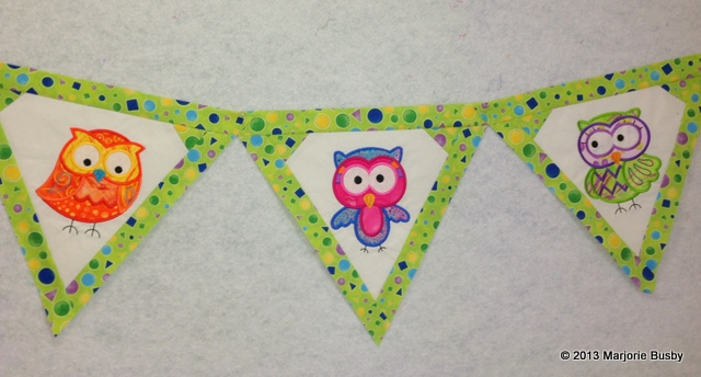 Embroidered Triangle Flag Strand Featuring Colorful Owls