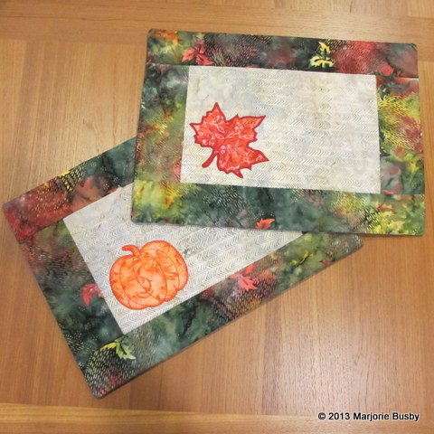 Placemats with Fall Leaf and Pumpkin Design