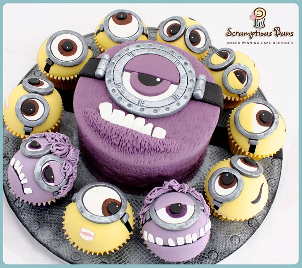 Large Purple Minion Cake with Smaller Minion Cupcakes