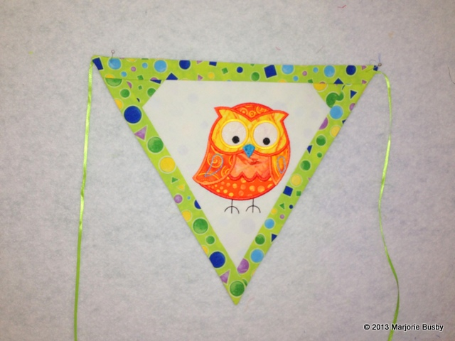 Embroidered Triangle Flag with Cute Yellow Owl