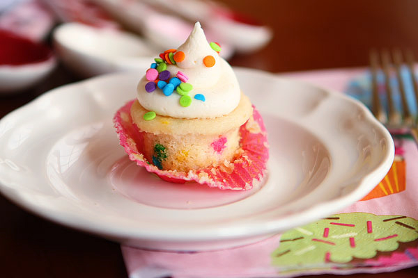 Mini Cupcake with Sprinkles in Pink Wrapper
