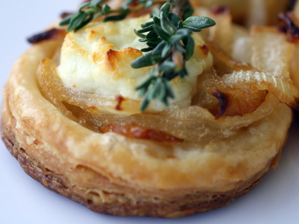 Close Up of Cheese Tart with Garnish