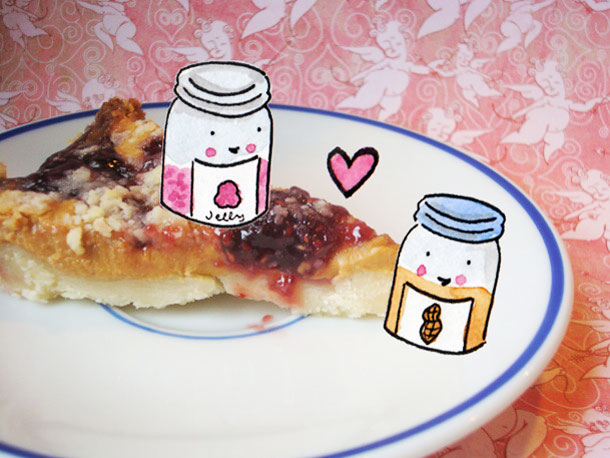 Piece of Jelly Tart with Cartoon Drawings
