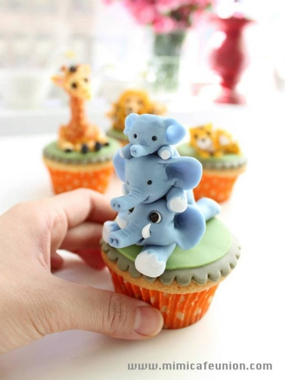 Blue Fondant Elephants Stacked in Tower on Cupcake