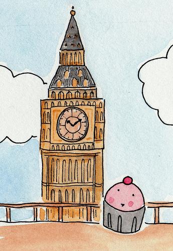 Illustration of Big Ben Next to Cupcake