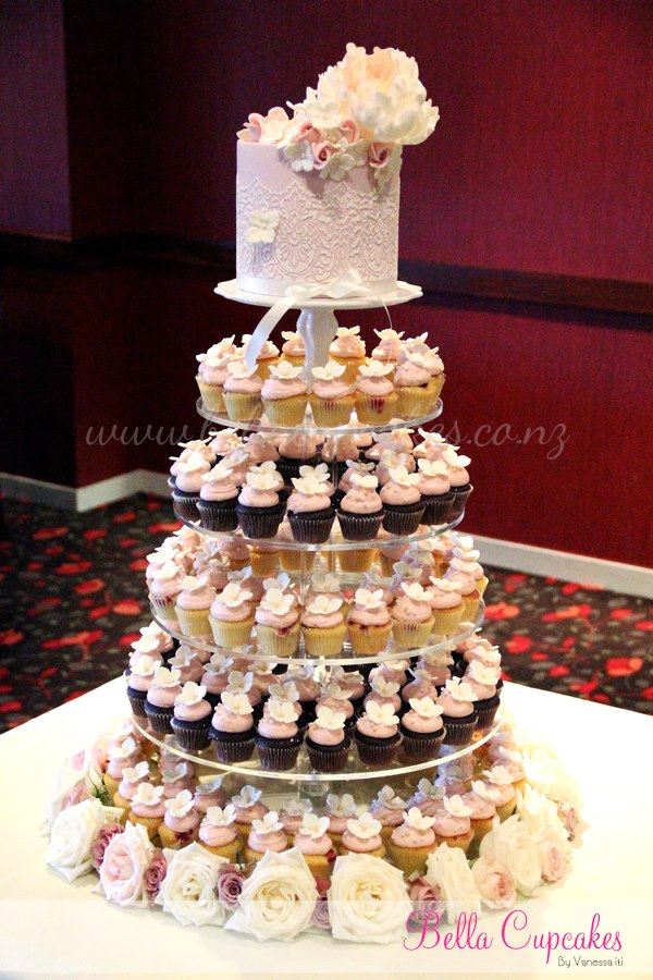 Miniature Wedding Cupcakes on a Cupcake Stand