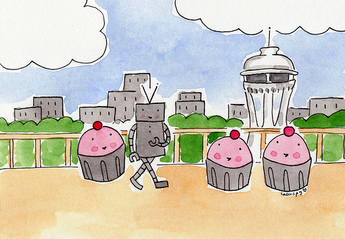 Cartoon of Cupcakes in Seattle