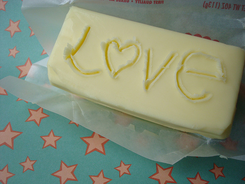 "Butter with Word ""Love"" Etched into It"