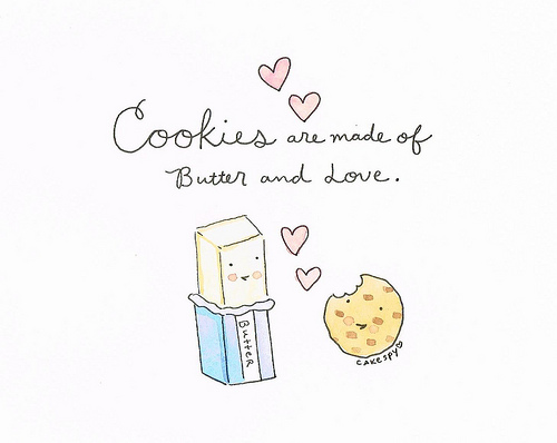 Cartoon of Butter and Cookie in Love