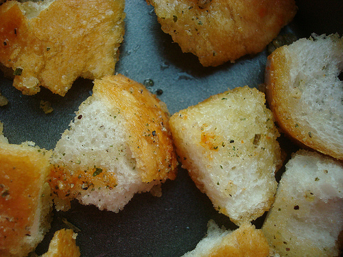 Close up on Croutons
