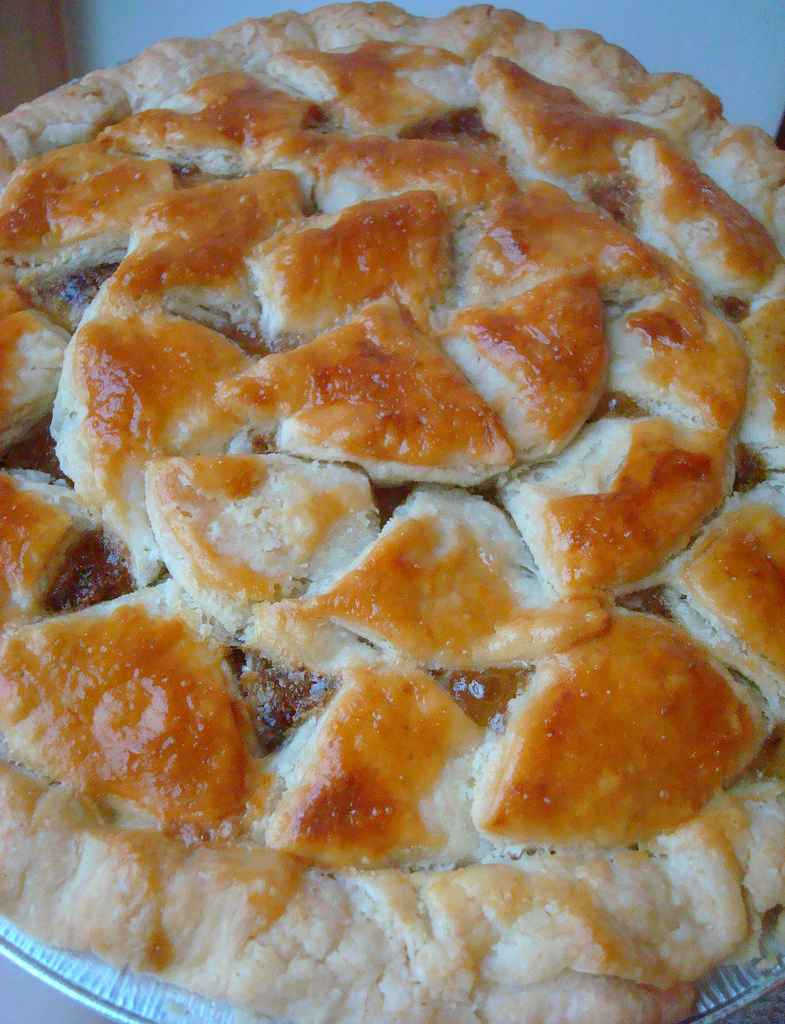 Peach Pie with a Golden, Patterned Crust