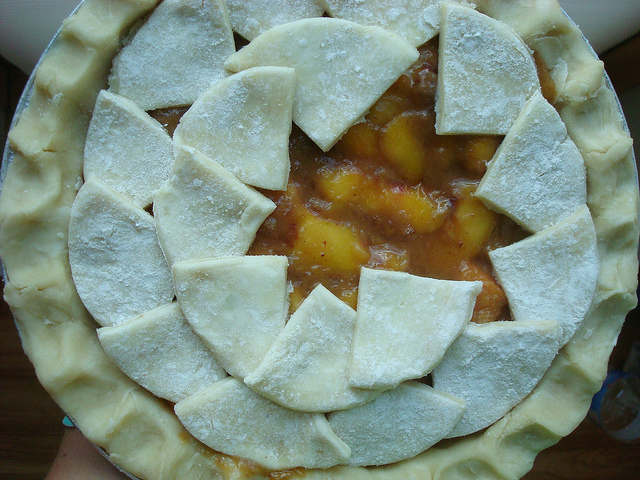 Top View of Pie, Filled, Being Covered with More Shapes