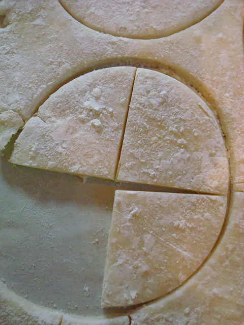 Pie Crust Being Cut into Triangular Shapes