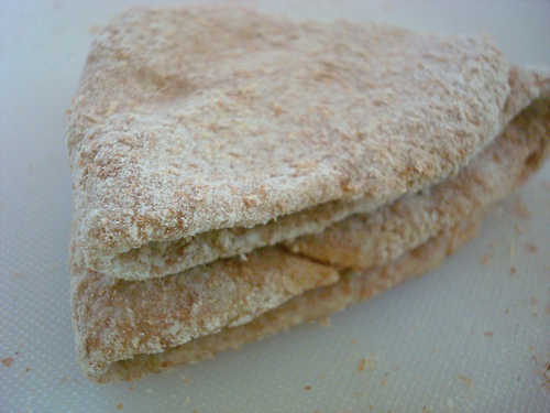 Stack of Flattened Triangle Dough