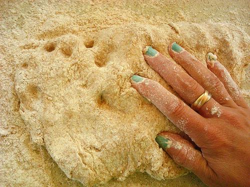 Hand Kneading the Brad Dough