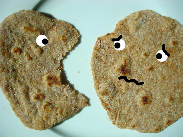 Cartoon Featuring Two Pieces of Chapati Bread