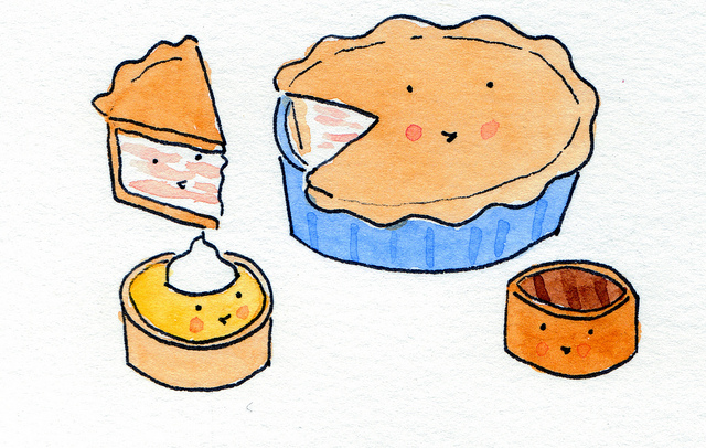 Cartoon of Various Smiling Tarts