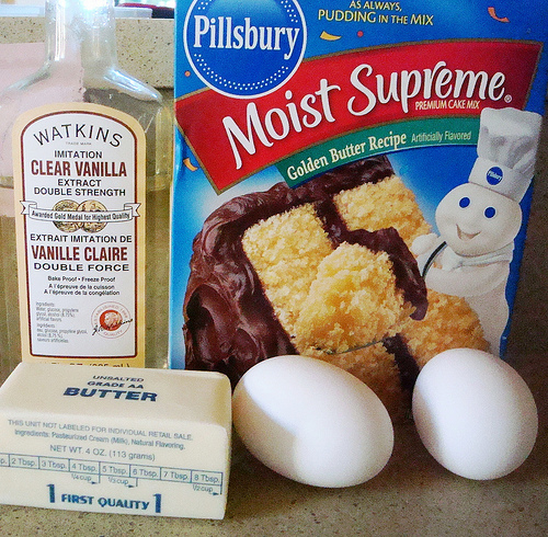Ingredients and Materials for Making Butter Cake