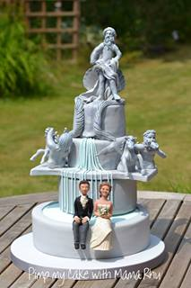 Cake Shaped Like Trevi Fountain with Couple Sitting at Fountain