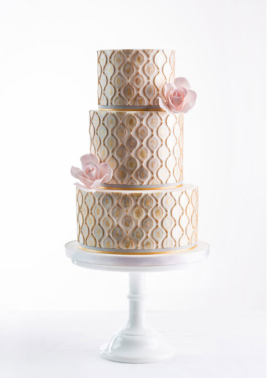 Tiered and Textured Gold Cake with Pink Flowers