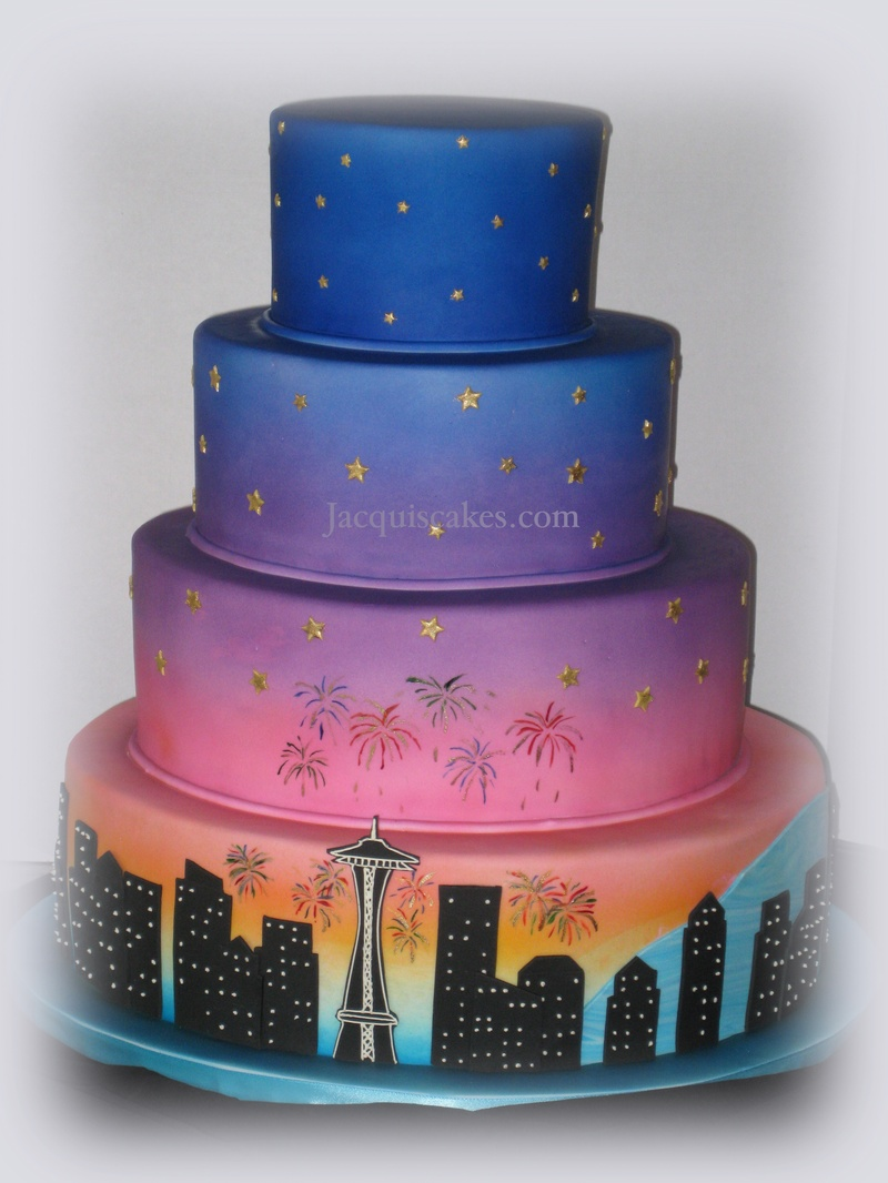 Tiered Ombre Cake Depicting Seattle Skyline