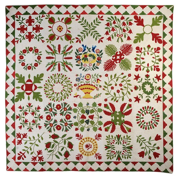 White Folk Art Quilt with Colorful Leaf-Inspired Pattern and Basket