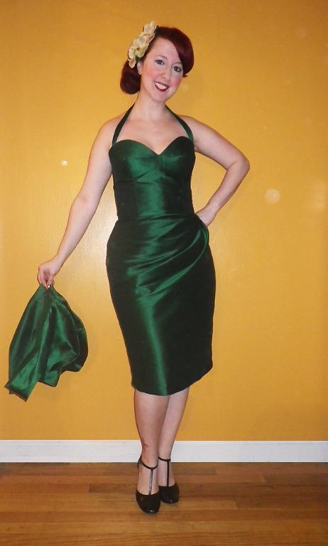Woman in Iridescent Green Bombshell Dress