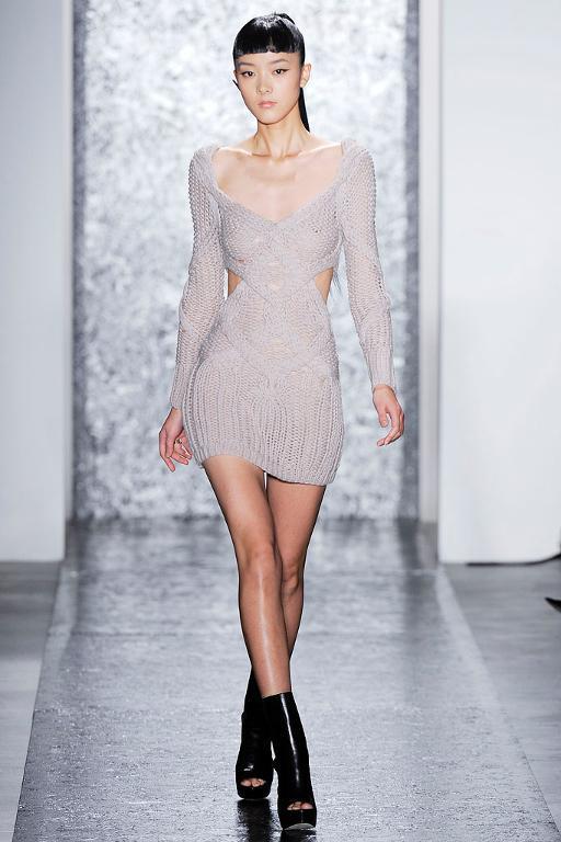 Woman Modeling Grey Knit Dress on Runway