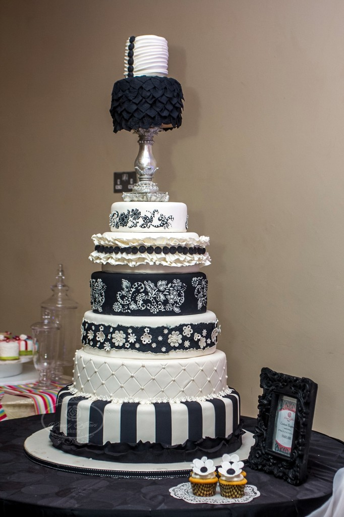 Black and White Multi-Tiered Cake with Frills, Stencil and More