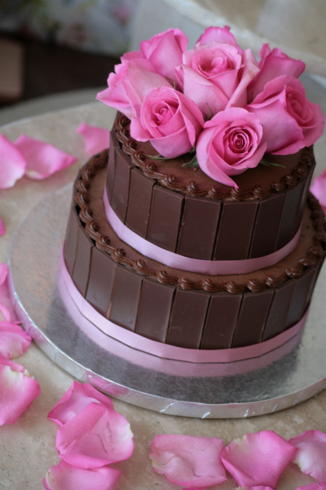 Chocolate Cake Topped with Pink Roses