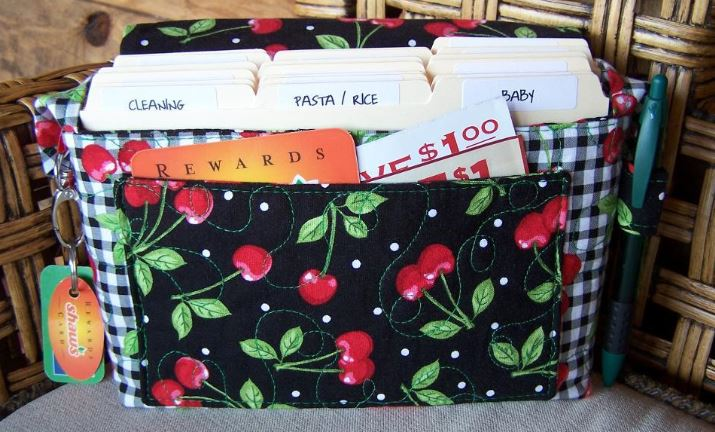 Quilted Cherry Coupon Organizer with Folders