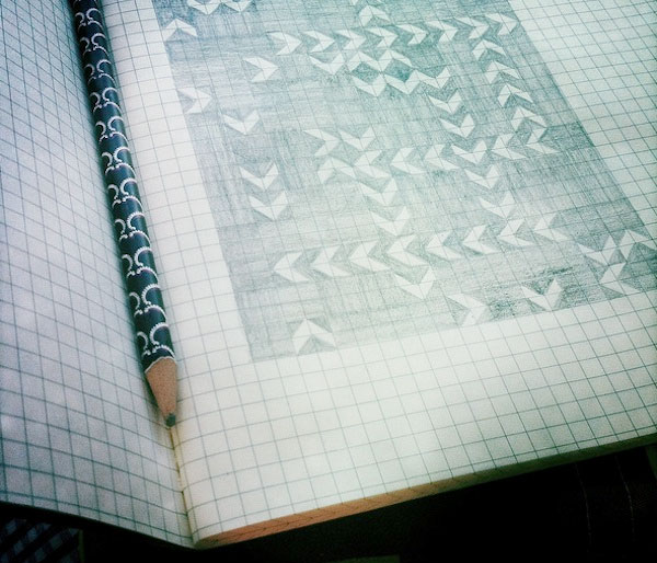 Sketch Book with Quilt Pattern and Pencil
