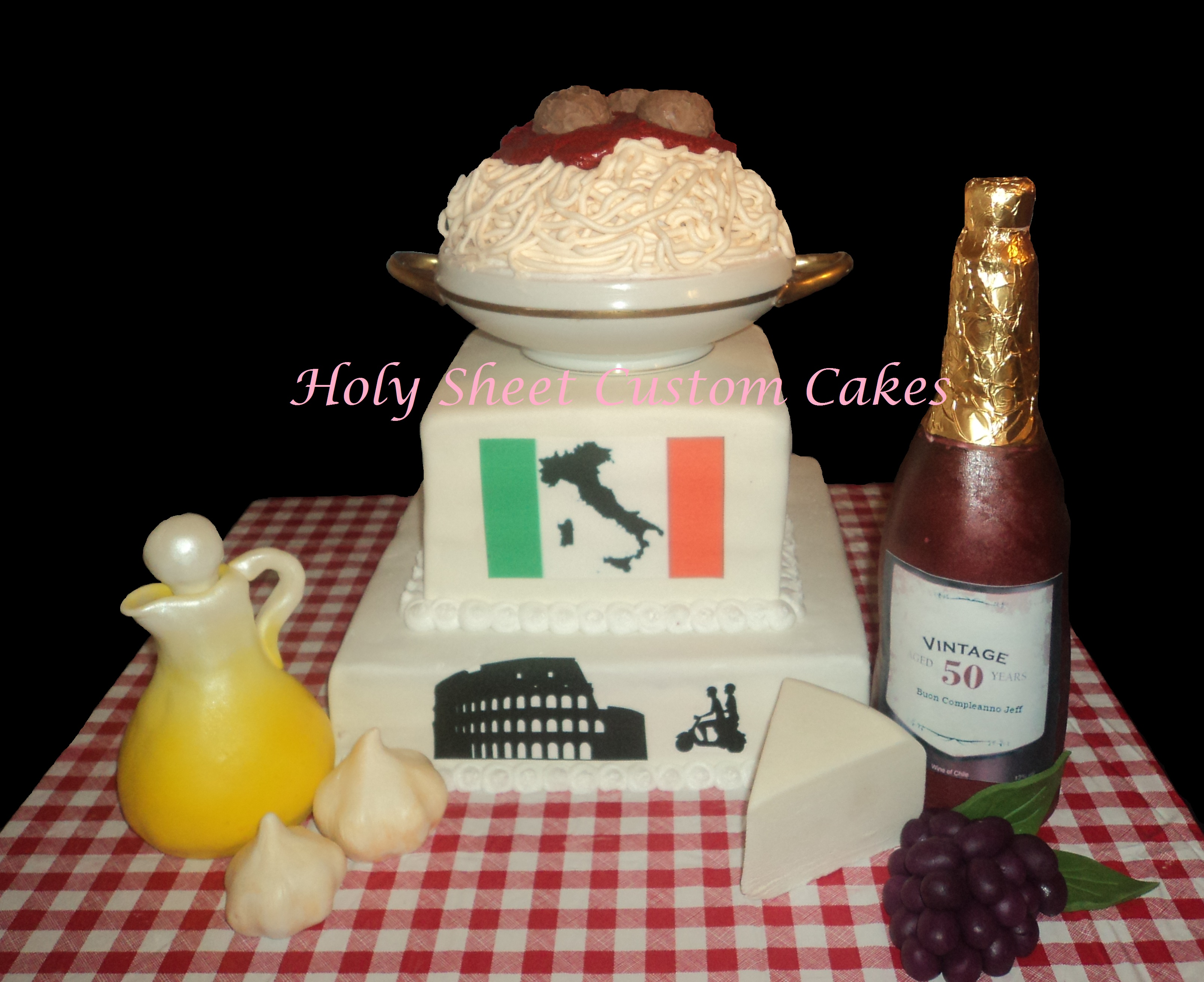 Three-Layer Cake with Italian Flag, Silhouettes, Spaghetti, Wine and Cheese