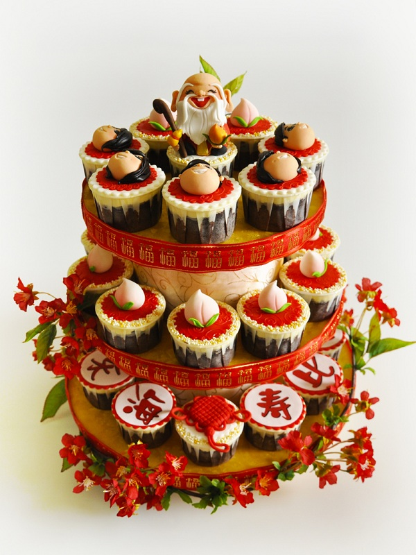Decorated Tower Featuring Chinese-Inspired Cupcakes