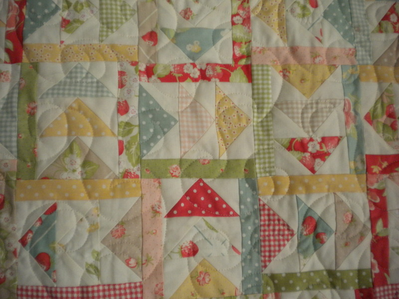 Quilt with Flying Geese Patter, Triangles Pointed Various Directions