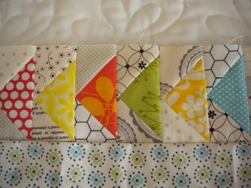 Scrappy Flying Geese Block, Colorful Blocks Against Black-and-White Blocks