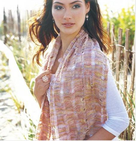 Woman Wearing Pink Knit Scarf