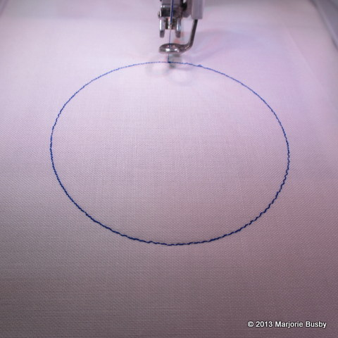 Machine Embroidering Circle onto Fabric