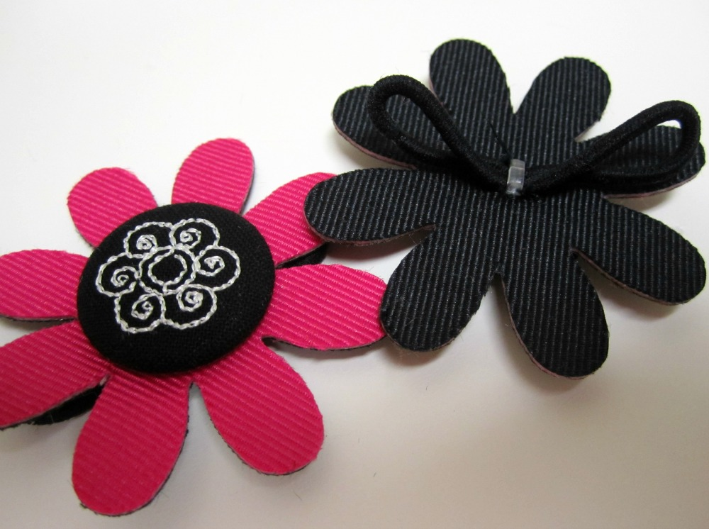 Black and Pink Decorated Flowers Side-by-Side