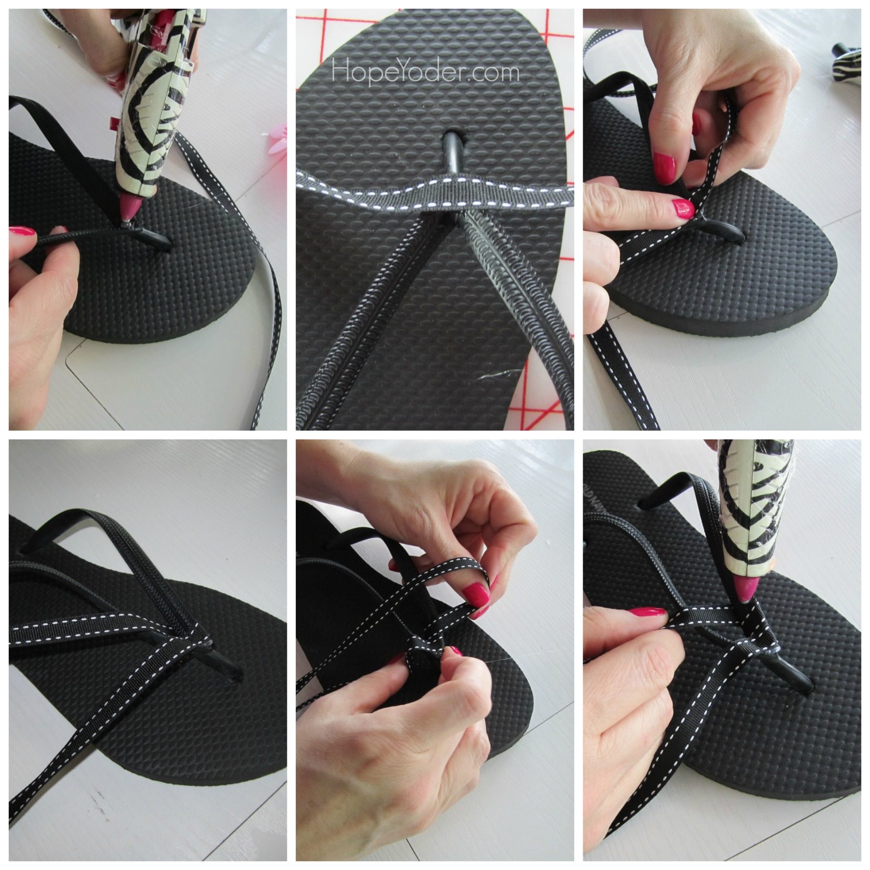 Collage of Flip Flops Being Decorated by Two Hands