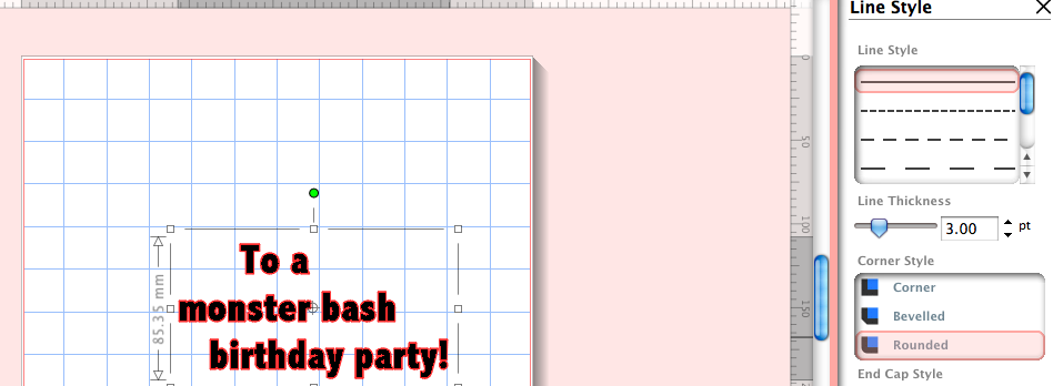 Graph with Text for Birthday Invite, Controls on Side