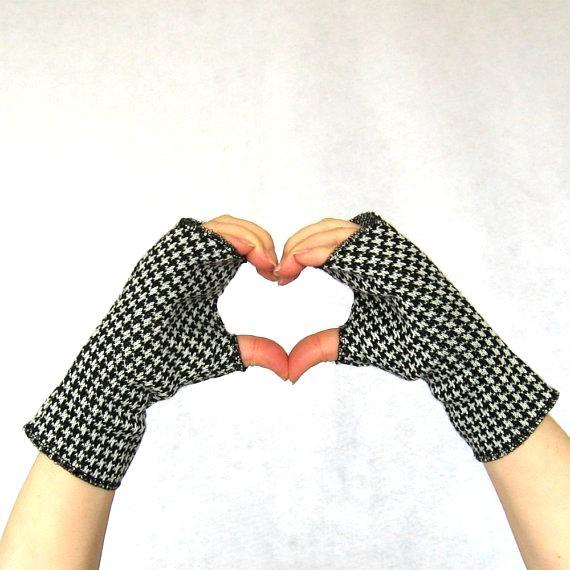 Hands Shaping Heart and Modeling Houndstooth Fingerless Gloves